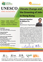 UNESCO Public Seminars Series: Climate change and the greening of jobs in Hong Kong